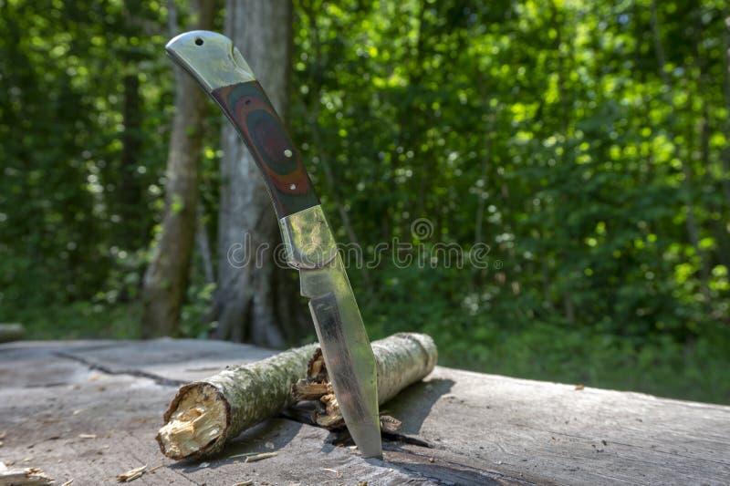 挺直在一张老野餐桌里困住的折叠的刀子 库存照片