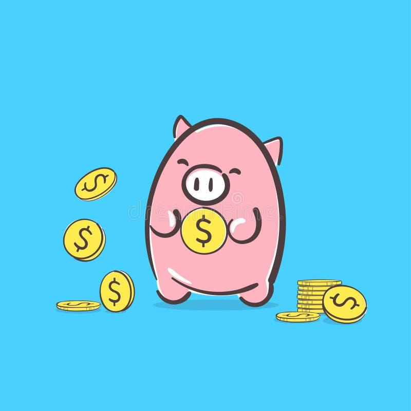存钱罐象 挽救或投资项目概念想法与逗人喜爱的桃红色猪藏品美元硬币货币财政例证 皇族释放例证