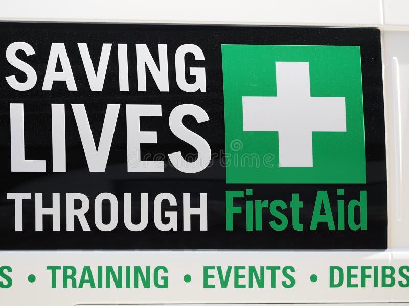 挽救生活通过急救标志 图库摄影