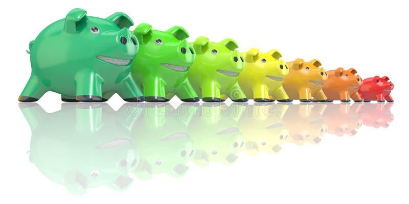 挽救能源消耗概念由存钱罐做成 3d 皇族释放例证