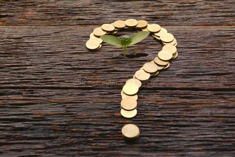 挽救金钱概念和金钱铸造形状与tre的问号 免版税库存图片