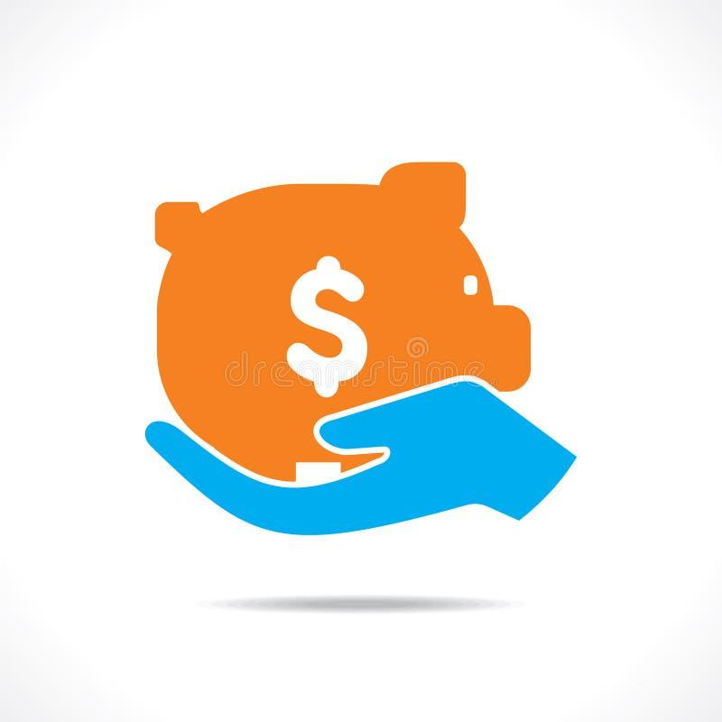 挽救金钱概念或举行存钱罐在手中 皇族释放例证