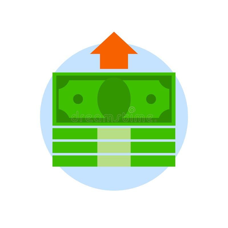 捆绑与在白色背景隔绝的箭头的金钱 金融投资,计划的概念 收入增殖 库存例证