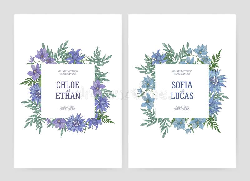 捆绑与美丽的开花的nigella和铁线莲属花的典雅的花卉婚礼文本的邀请和地方 库存例证