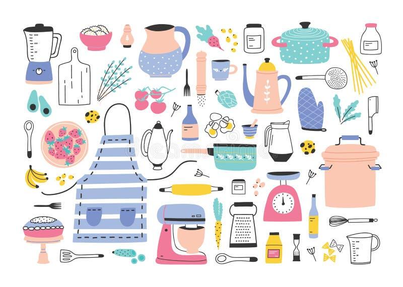 捆绑为家庭烹饪或自创饭食准备,食品成分的厨房用具,手工和电工具 向量例证
