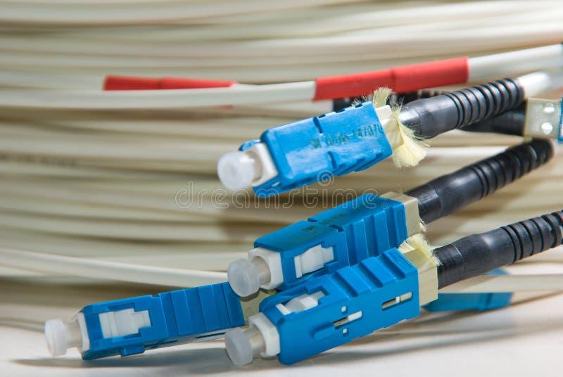 捆绑光纤的补丁程序 图库摄影