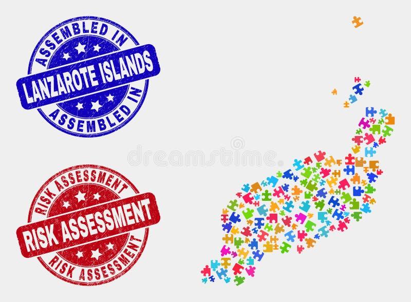 捆绑兰萨罗特岛海岛映射和抓被装配的和风险评估封印 皇族释放例证