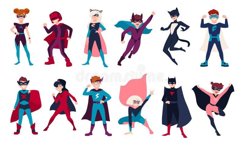 捆绑孩子超级英雄 捆绑男孩和女孩有超级大国的 套儿童动画片或喜剧人物 向量例证