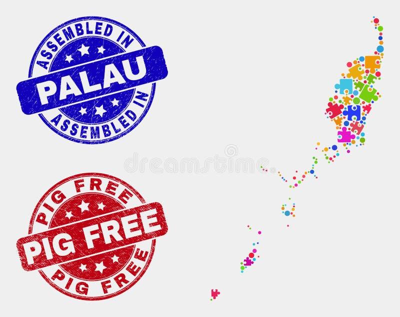 捆绑帕劳地图和困厄被装配的和猪自由邮票 皇族释放例证