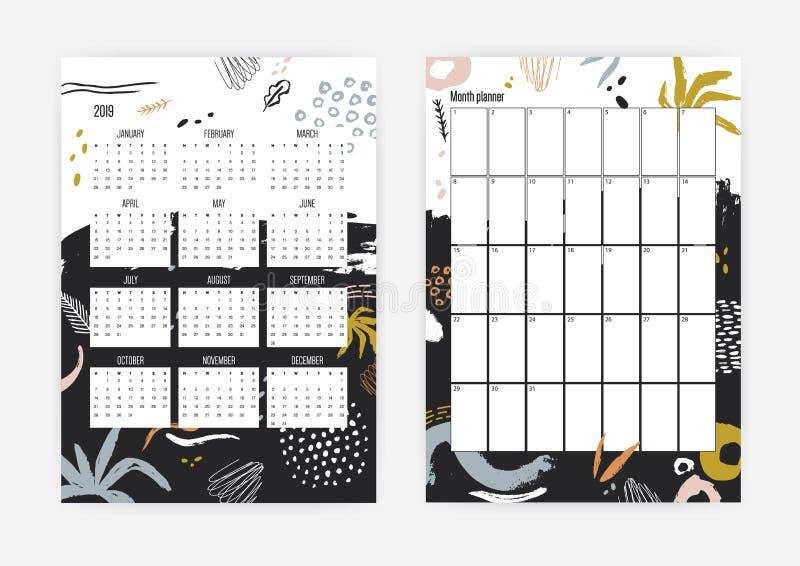 捆绑月度和每周计划者模板与五颜六色的抽象污点和油漆踪影的2019年 库存例证