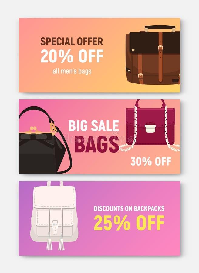 捆绑水平的横幅,与时髦典雅的袋子的优惠券或证件模板和提包不同和 库存例证
