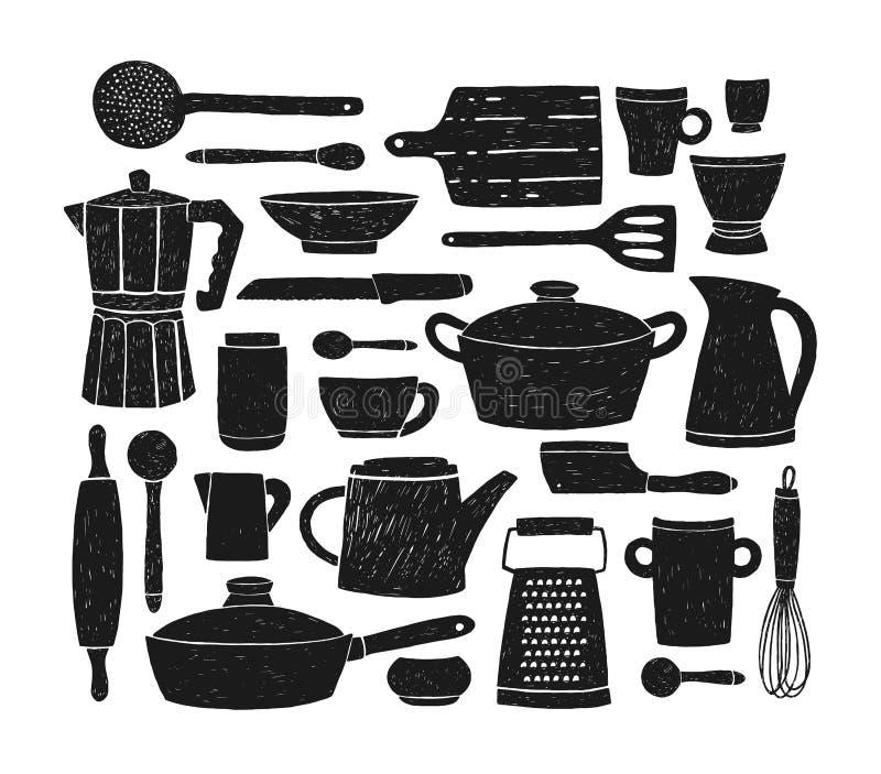 捆绑玻璃器皿、厨具和炊具 套厨房器物或工具黑剪影为家庭烹饪 向量例证