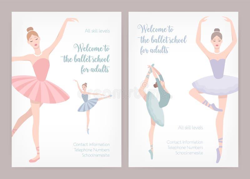 捆绑芭蕾学校或演播室的海报或飞行物模板与穿芭蕾舞短裙的典雅的跳舞芭蕾舞女演员的成人的 库存例证