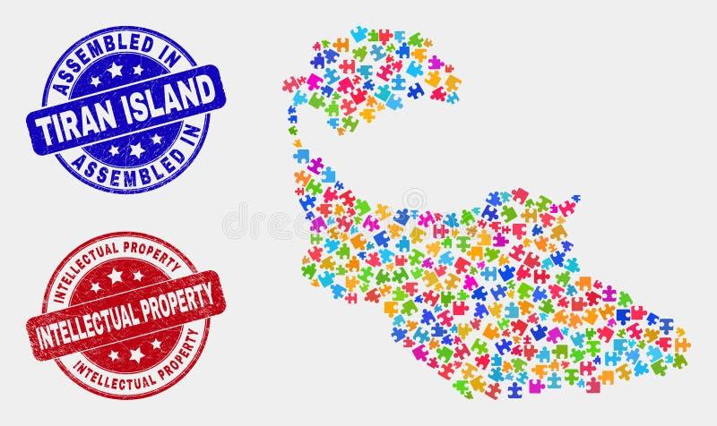 捆绑蒂朗岛地图和难看的东西被装配的和知识产权邮票封印 向量例证