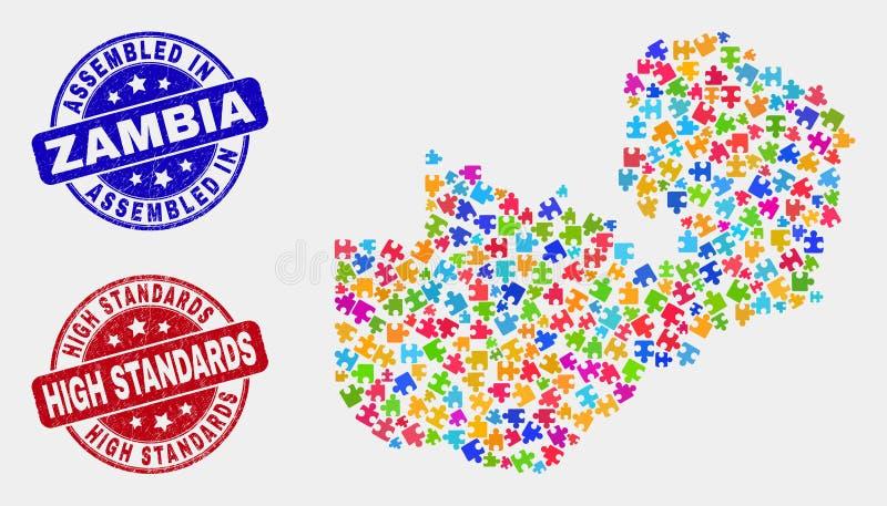 捆绑赞比亚地图和抓被装配的和高标准邮票 库存例证