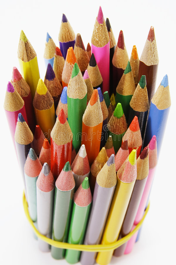捆绑颜色铅笔 库存照片