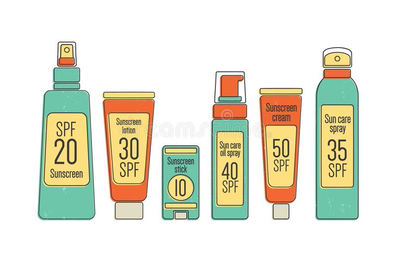 捆绑SPF太阳保护化妆用品在白色背景隔绝的各种各样的包裹 包装的汇集为 向量例证