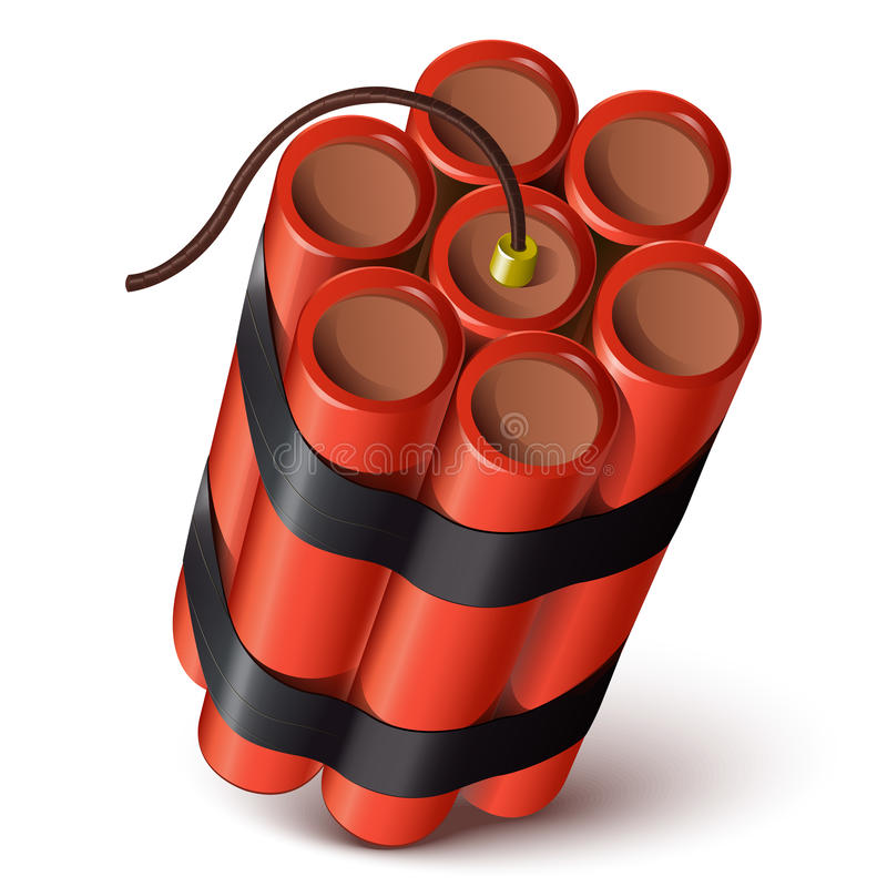 捆绑在白色背景的红色炸药 向量例证