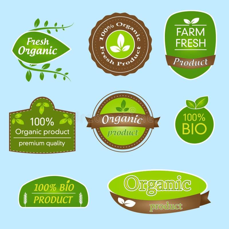捆绑生物,有机的标签,所有自然食物和环境友好的产品 向量例证