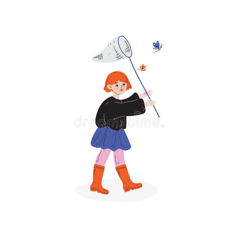 捉住与网的女孩蝴蝶,哄骗春天或夏天室外活动传染媒介例证 库存例证