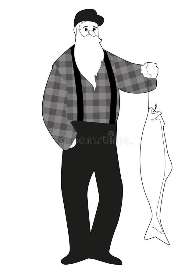 捉住从鱼钩的有胡子的渔夫一条三文鱼,穿盖帽和方格的衬衣,隔绝在白色背景 库存图片