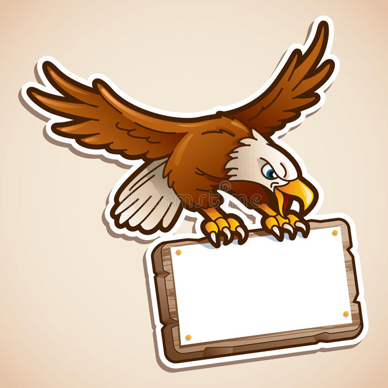 捉住标志的老鹰 库存例证