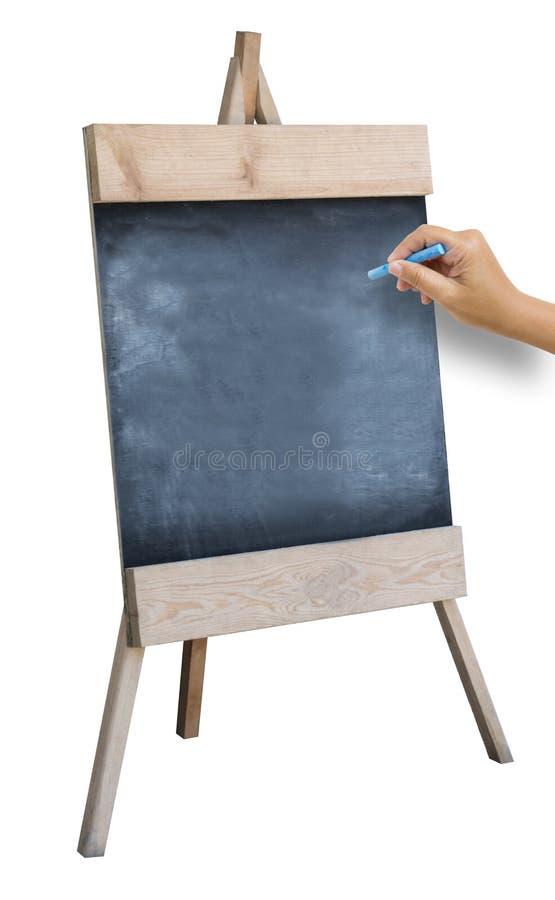 捉住白垩的手准备写字母表o 免版税库存图片