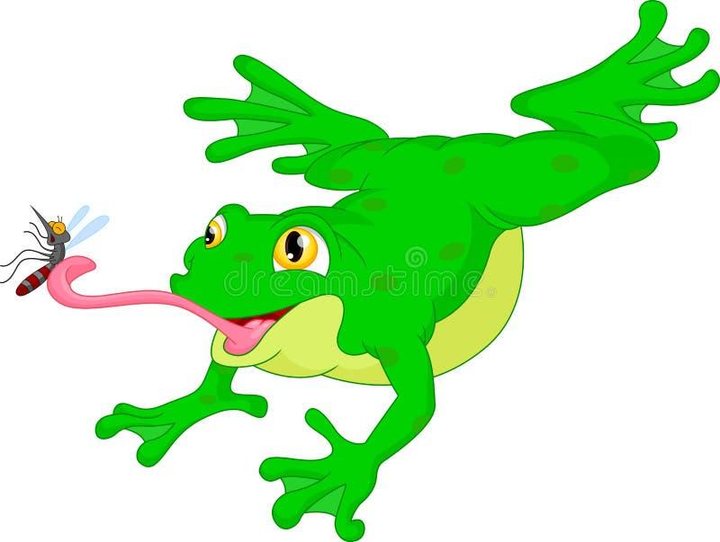捉住蚊子动画片的池蛙 库存例证