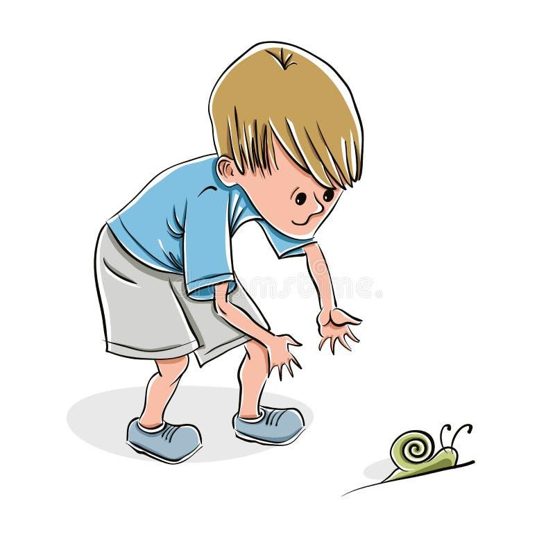 捉住蜗牛的小男孩 向量例证