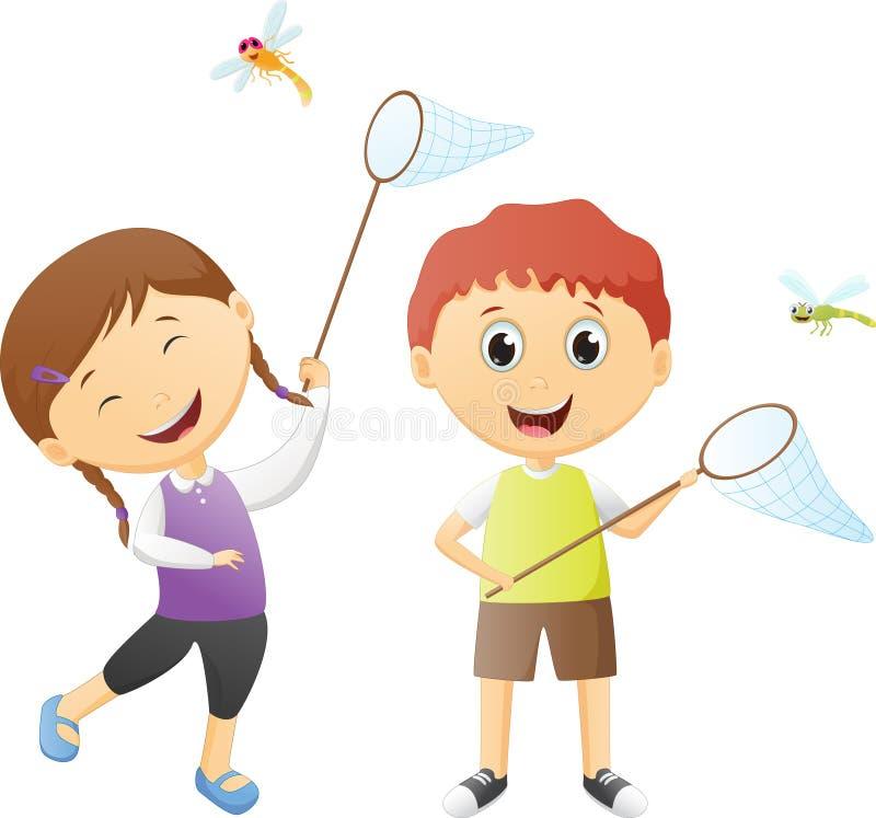 捉住蜻蜓的男孩和女孩 库存例证