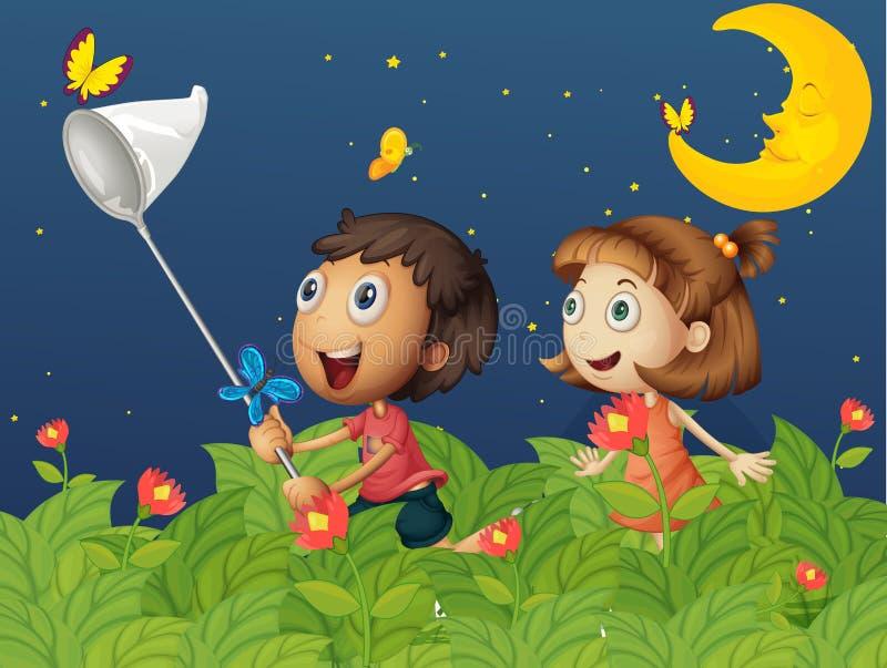 捉住蝴蝶的孩子在明亮的月亮下 库存例证