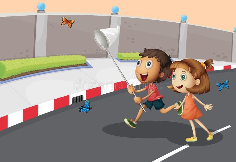 捉住蝴蝶的孩子在街道 库存例证