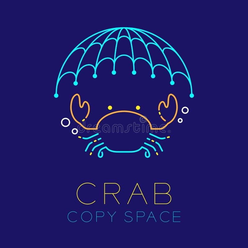 捉蟹,捕鱼网和气泡商标象概述冲程集合 库存例证