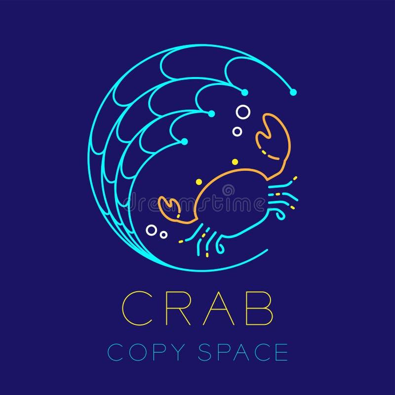 捉蟹,捕鱼网圈子形状和气泡商标象概述 库存例证