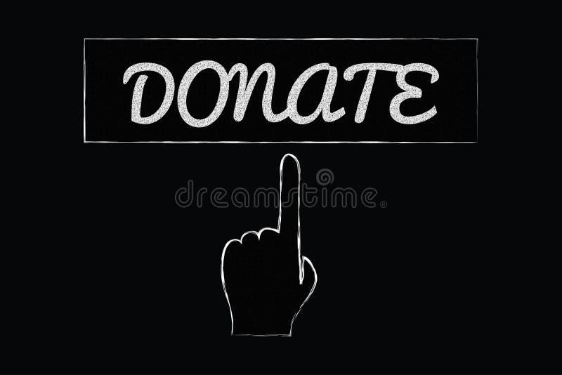 捐赠与指向手的标志 库存例证