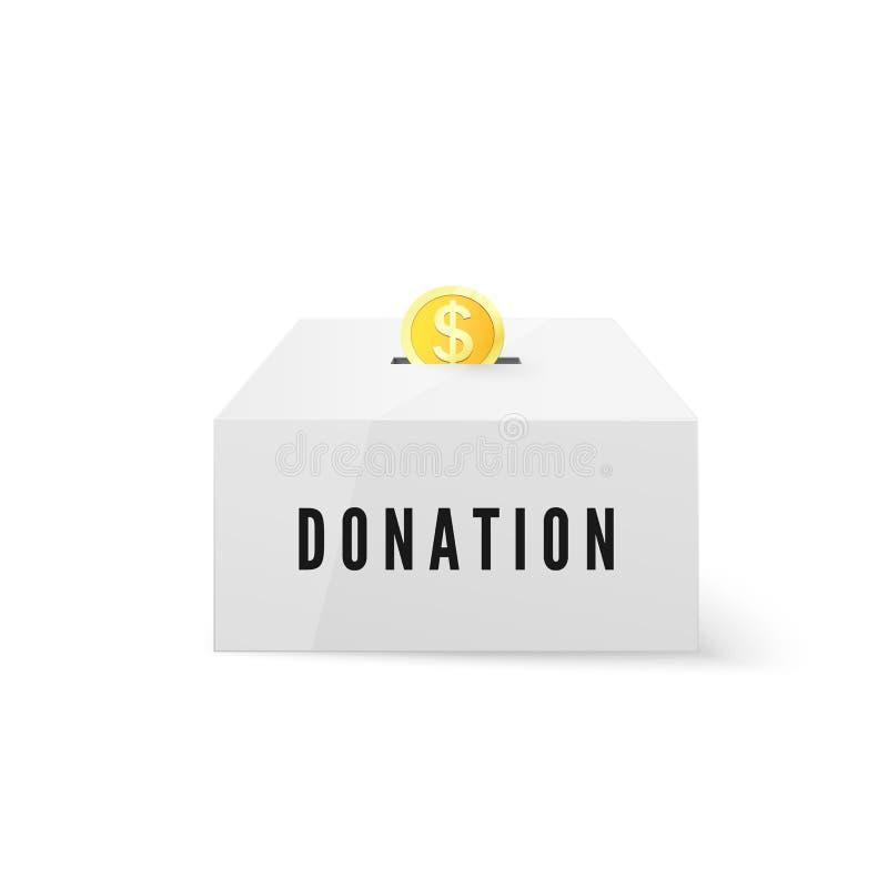 捐赠和慈善 捐赠金钱概念 在钱箱的金黄硬币资金 在空白背景查出的向量例证 库存例证