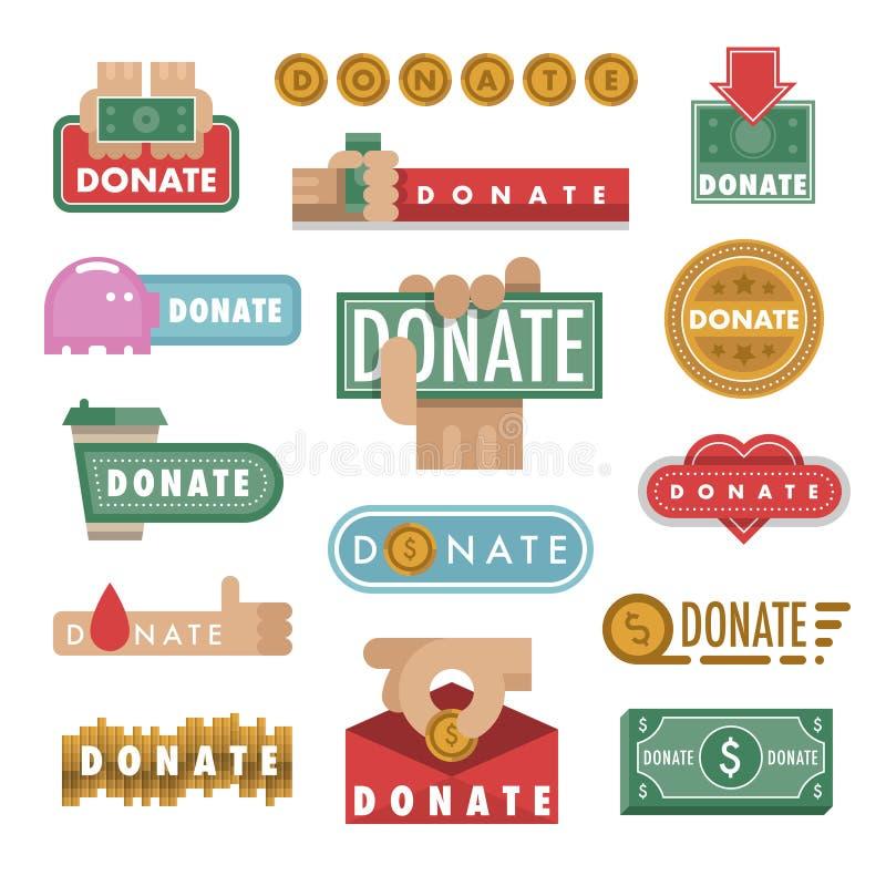 捐赠按钮传染媒介例证帮助象捐赠贡献慈善慈善事业手标志和网站礼物 向量例证