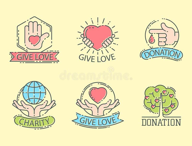 捐赠金钱集合商标象帮助象捐赠贡献慈善慈善事业标志人类支持传染媒介 皇族释放例证