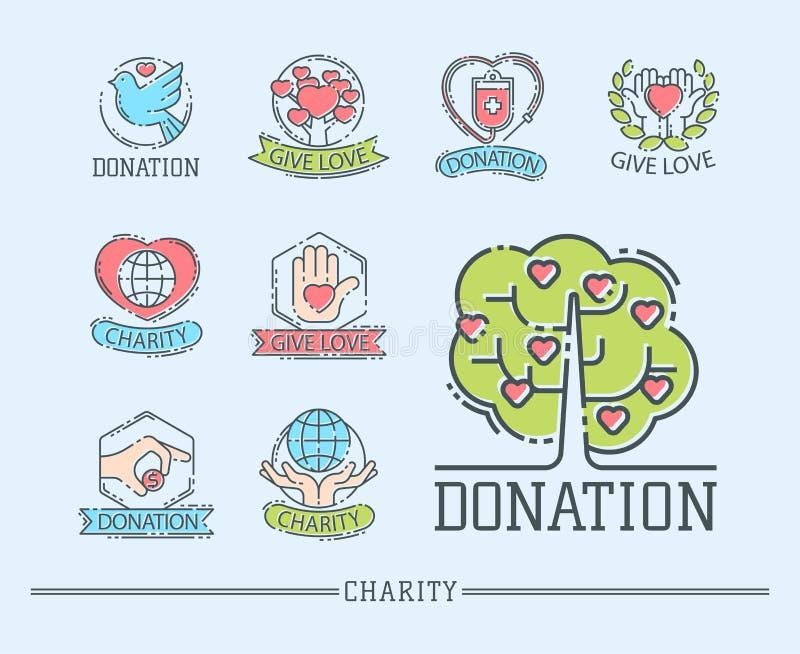捐赠金钱集合商标象帮助象捐赠贡献慈善慈善事业标志人类支持传染媒介 向量例证