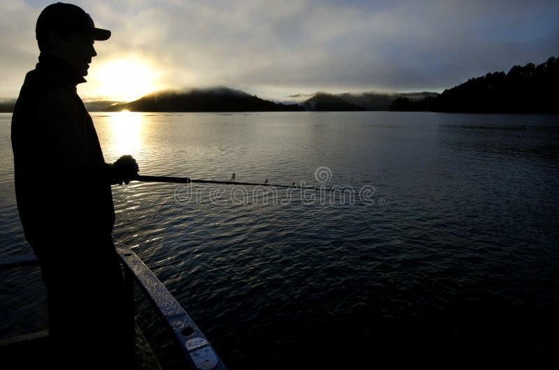 捕鱼徒步旅行队在新西兰 免版税库存图片