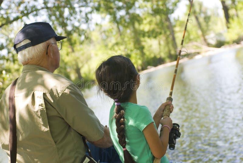 捕鱼祖父 库存照片