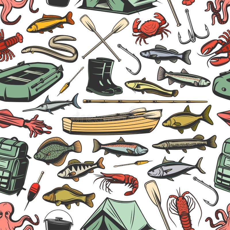 捕鱼设备和鱼无缝的样式 库存例证