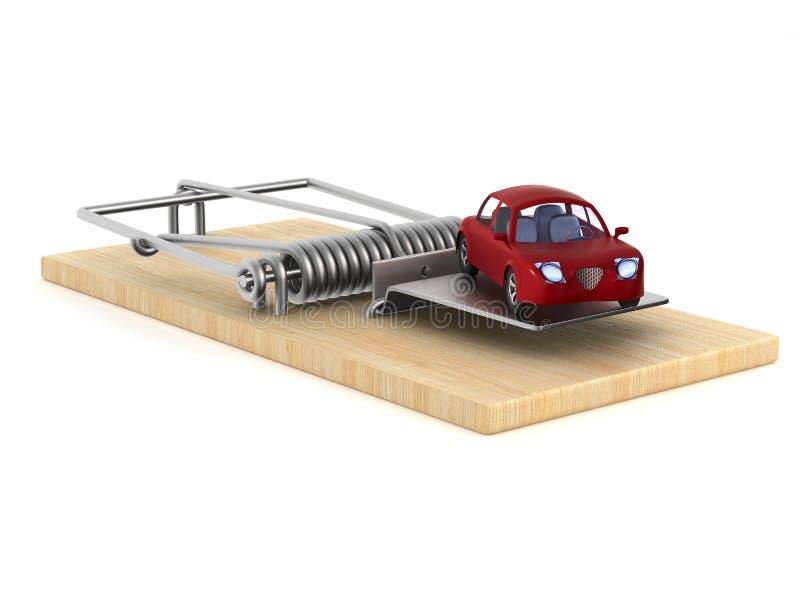 捕鼠器和汽车在白色背景 被隔绝的3d例证 向量例证