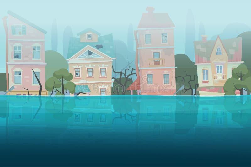 损坏由自然灾害在动画片城市概念的水中和树部分地淹没的洪水房子 风暴城市 向量例证