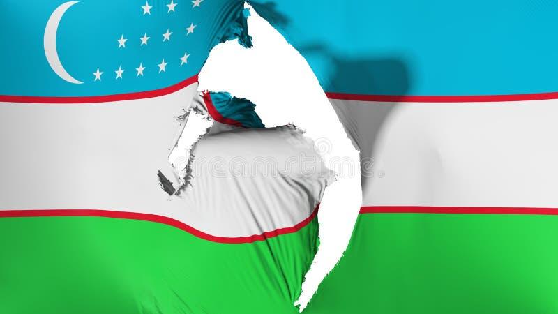 损坏的乌兹别克斯坦旗子 皇族释放例证