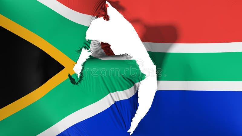 损坏的南非旗子 向量例证