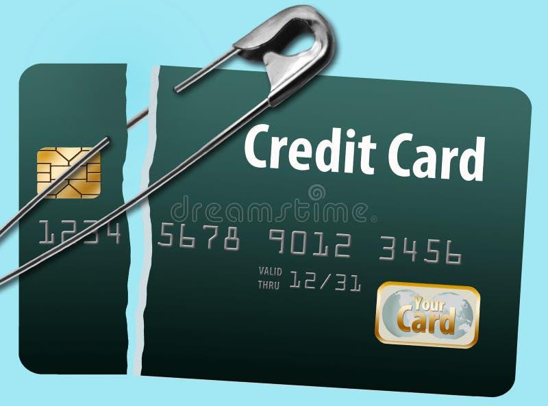 损坏的和被修理的信用卡 皇族释放例证