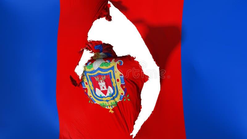 损坏的基多市旗子 皇族释放例证