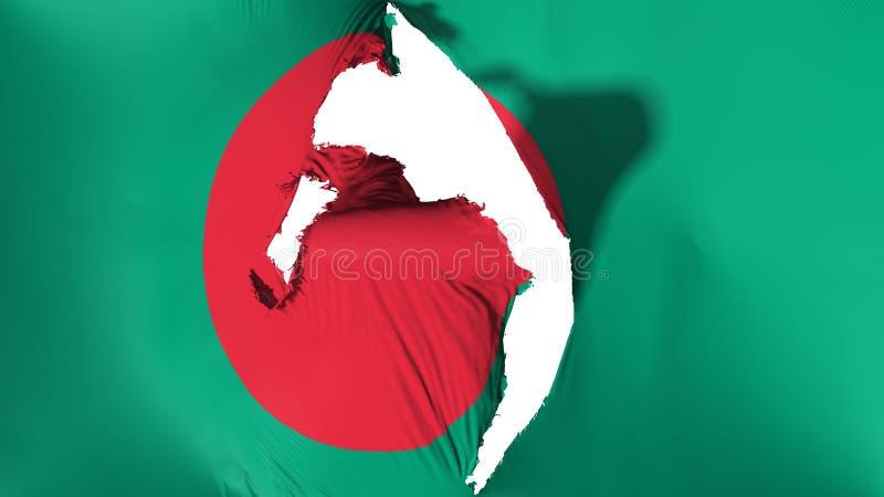 损坏的孟加拉国旗子 向量例证
