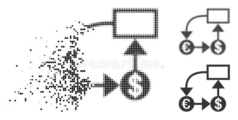 损坏的小点半音欧元和美元流程图象 库存例证